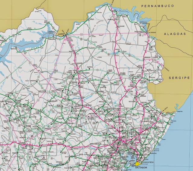 Mapa rodoviário da região de Paulo Afonso - Bahia