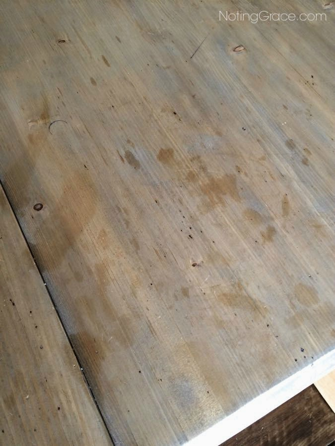 Farmhouse Style Table Makeover: Using gray tones, and distressing techniques, this amazing makeover is a Restoration Hardware Knockoff. Click the pic for more details of why you shouldn't use paste wax on a dining table!