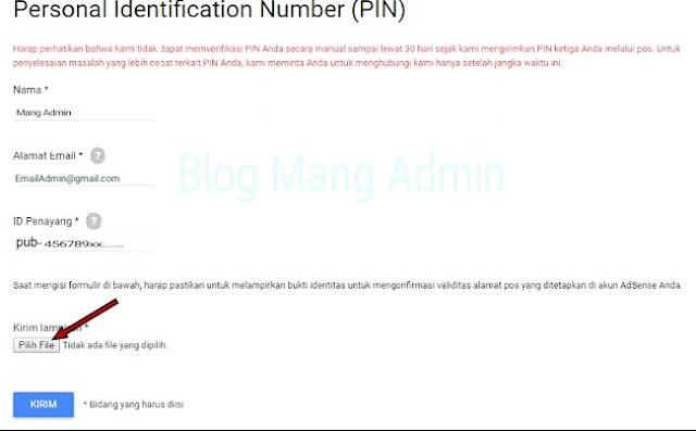 Alternatif Verifikasi Identitas Google Adsense Lewat KTP Karena PIN Tidak Datang