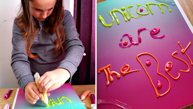 decorating a folder with Gel-a-Peel