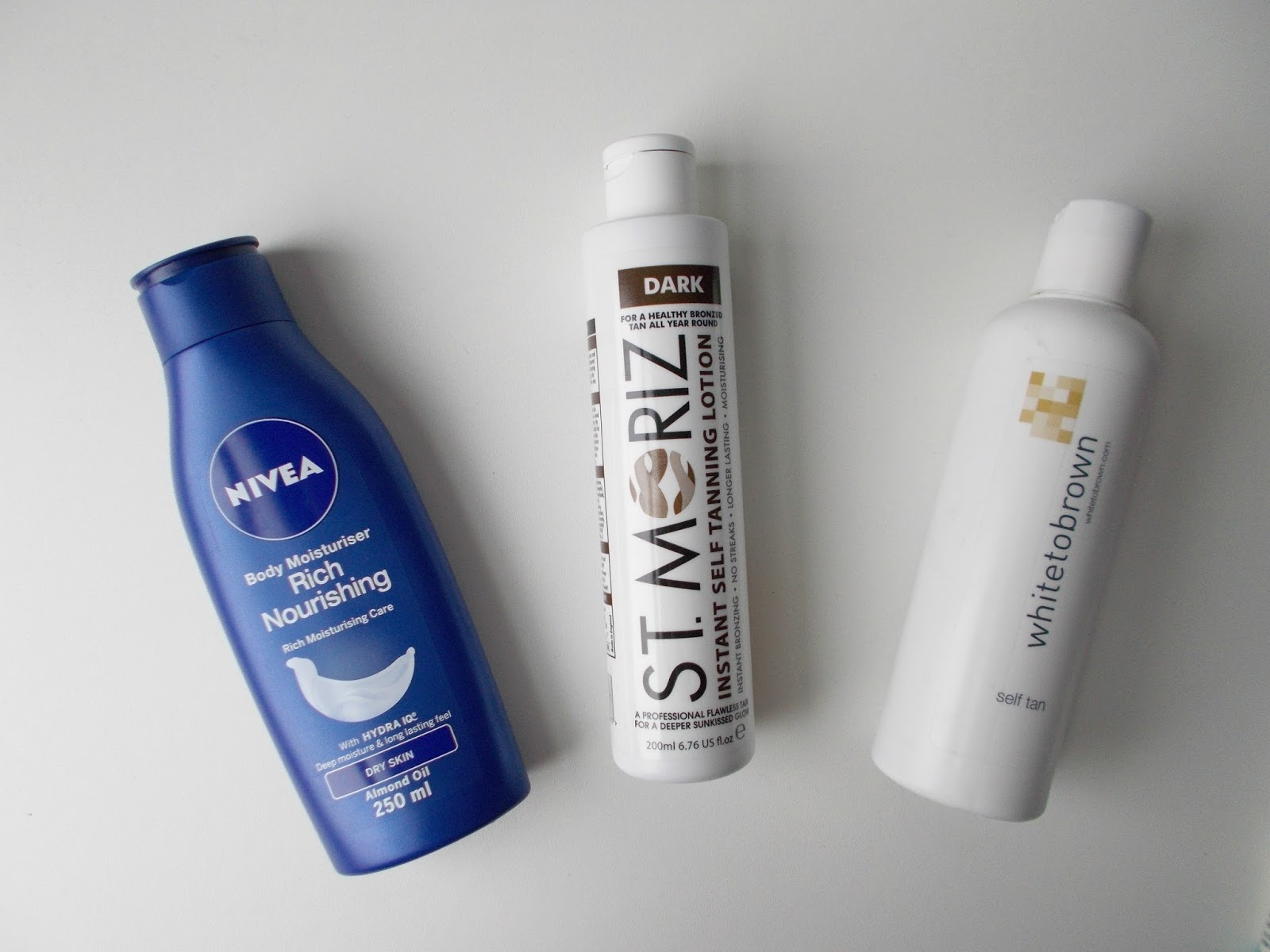 product empties bodycare nivea white to brown st moriz tan