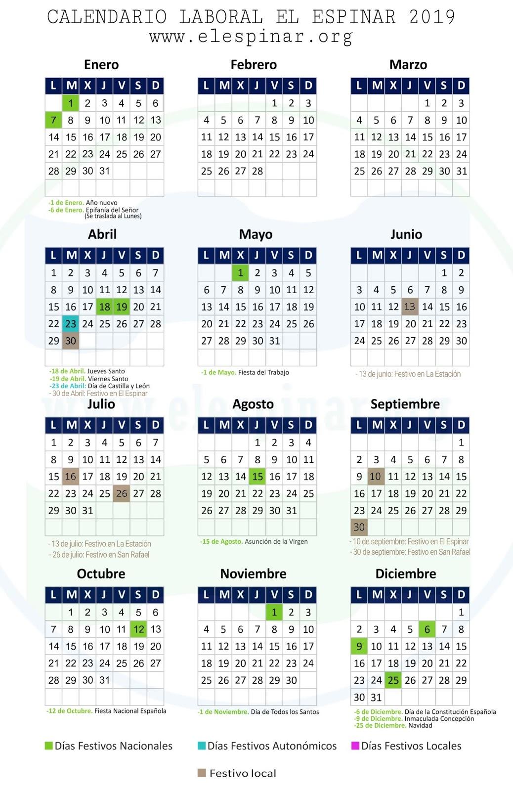 Calendario Laboral Castilla Y Leon 2020.Calendario Festivos El Espinar 2019