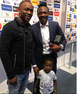 Comedian Ushbebe Poses With Eagles Forward, Ahmed Musa And His Lookalike Son