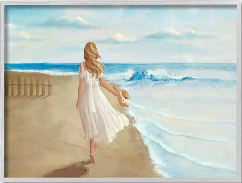 Woman Walking on the Beach Art