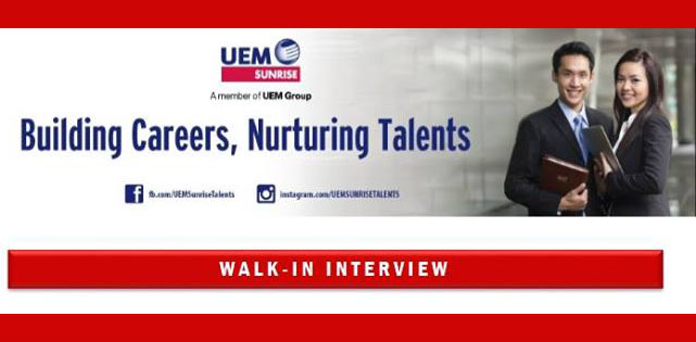 UEM Sunrise Walk-in Interview Jobs Vacancies 26 March 2016