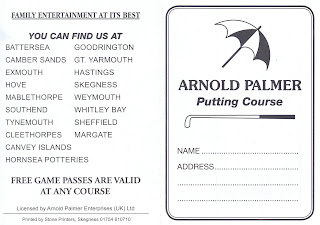 Crazy Golf scorecard from the Arnold Palmer Putting Course in Skegness