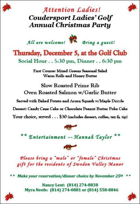 11-25 Reservation Deadline for Coudersport Golf Club Ladies Christmas Party