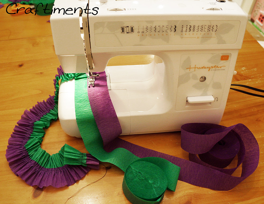 Ruffling streamers with a sewing machine