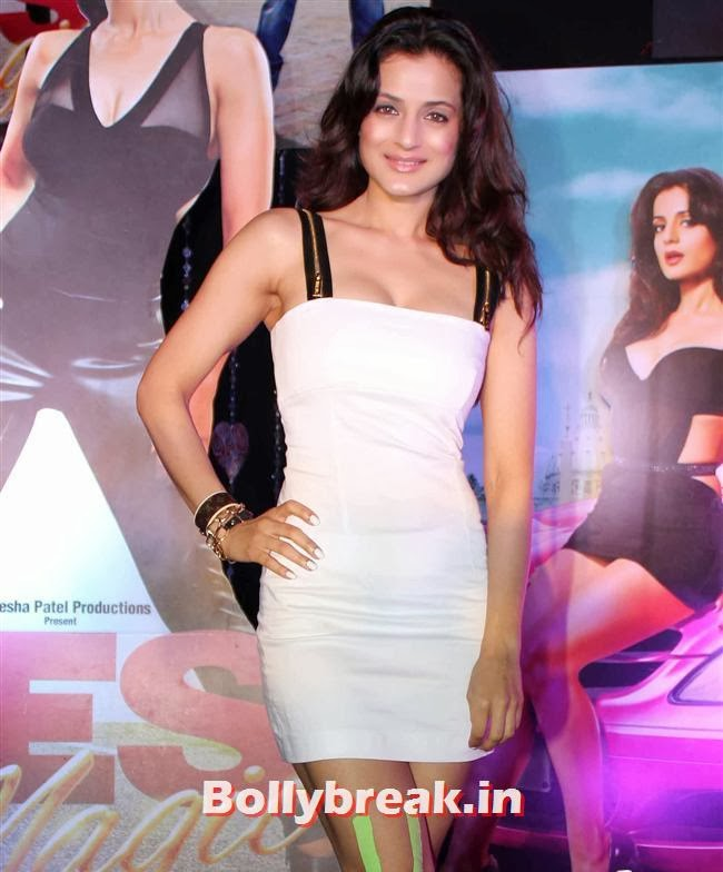 Amisha Patel, Hot Amisha Patel in White Dress at Desi Magic Poster Launch