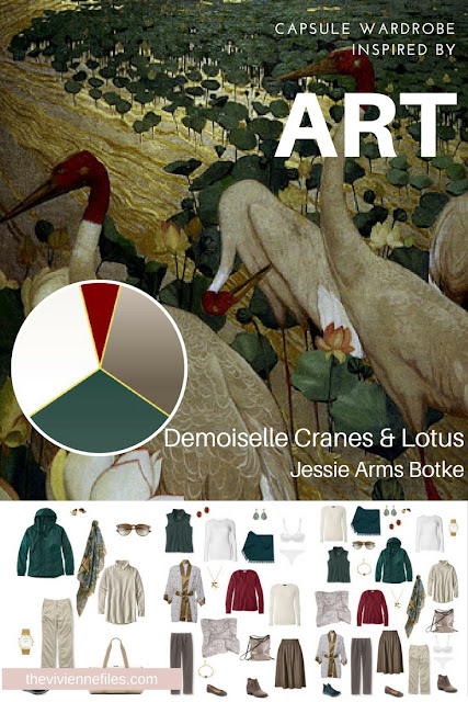 Build a Travel Capsule Wardrobe by Starting with Art: Demoiselle Cranes and Lotus by Jessie Arms Botke