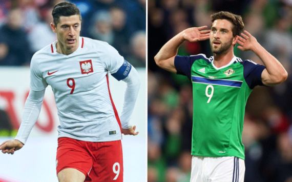 Robert Lewandowski and Will Grigg - Poland vs Northern Ireland
