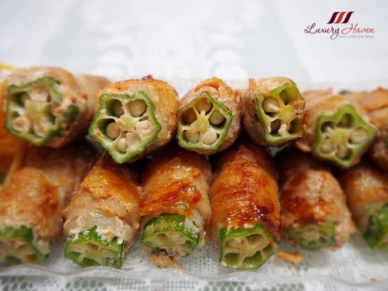 finger lickin good teriyaki pork rolls with okra
