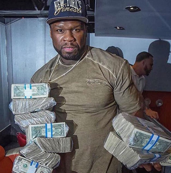 Months after filing for bankruptcy, 50 Cent flaunts wads of cash on IG