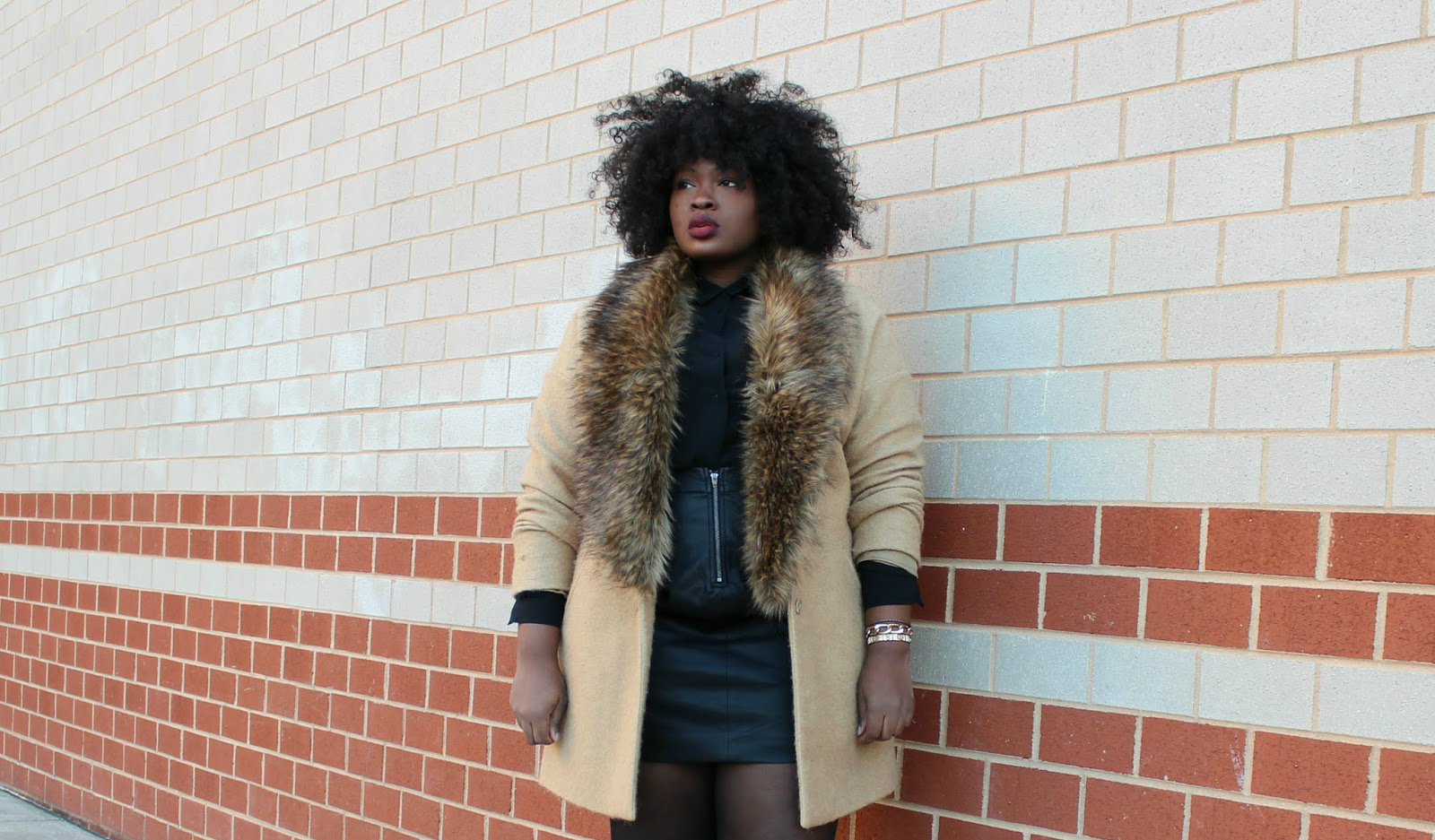 ASOS FUR LINED BOYFRIEND COAT, FOREVER 21 LEATHER MINI SKIRT, SHOEDAZZLE LACE UP PEEP TOE BOOTIES
