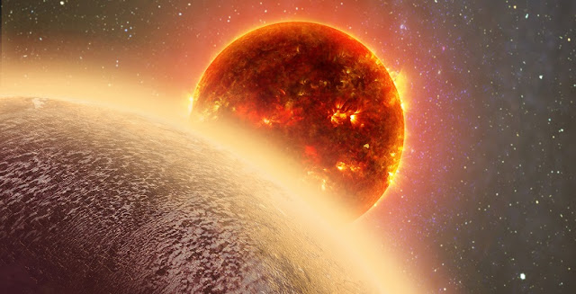 This artist's conception shows the rocky exoplanet GJ 1132b, located 39 light-years from Earth. New research shows that it might possess a thin, oxygen atmosphere - but no life due to its extreme heat. Dana Berry / Skyworks Digital / CfA