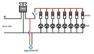 skema rangkaian cas hp dan lampu emergency
