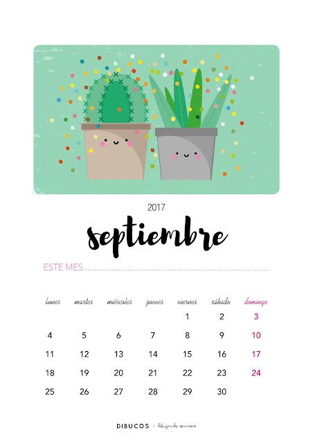 Dibu calendario imprimible gratis para septiembre