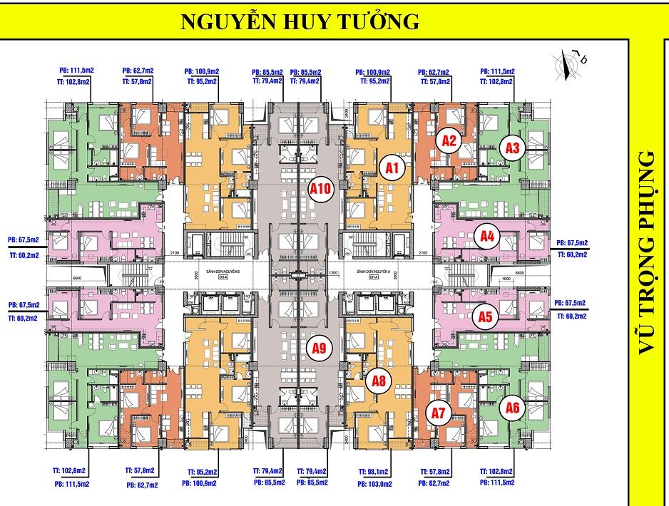 Thiết kế mặt bằng tổng thể dự án Chung cư 63 Nguyễn Huy Tưởng