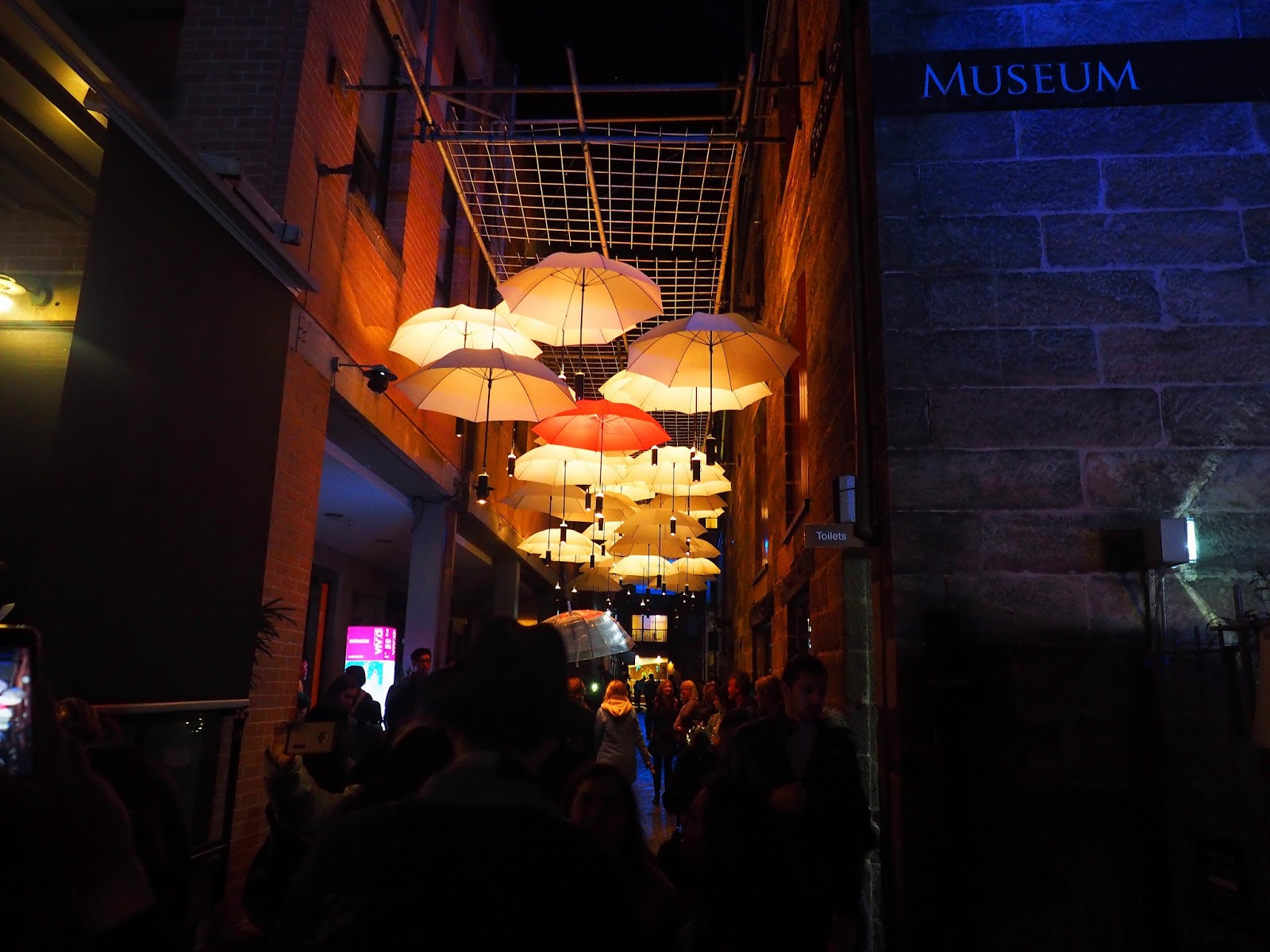 Vivid Sydney Alley with Umbrellas