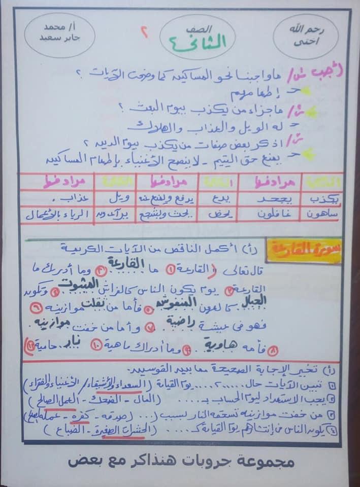 مراجعة التربية الدينية للصف الثاني الابتدائي ترم ثاني أ. محمد جابر 8