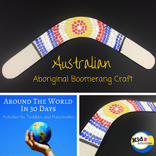 Aboriginal Boomerang Craft from Australia, as part of Around the World in 30 Days- Geography and cultural activities for toddlers and preschoolers