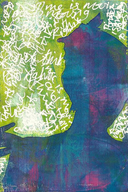Whoopidooings: Carmen Wing - ICAD Index Card a Day - Journalled Gelli Print