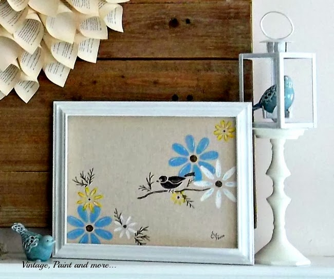 Spring Mantel - stenciled canvas, altered candlestick and lantern