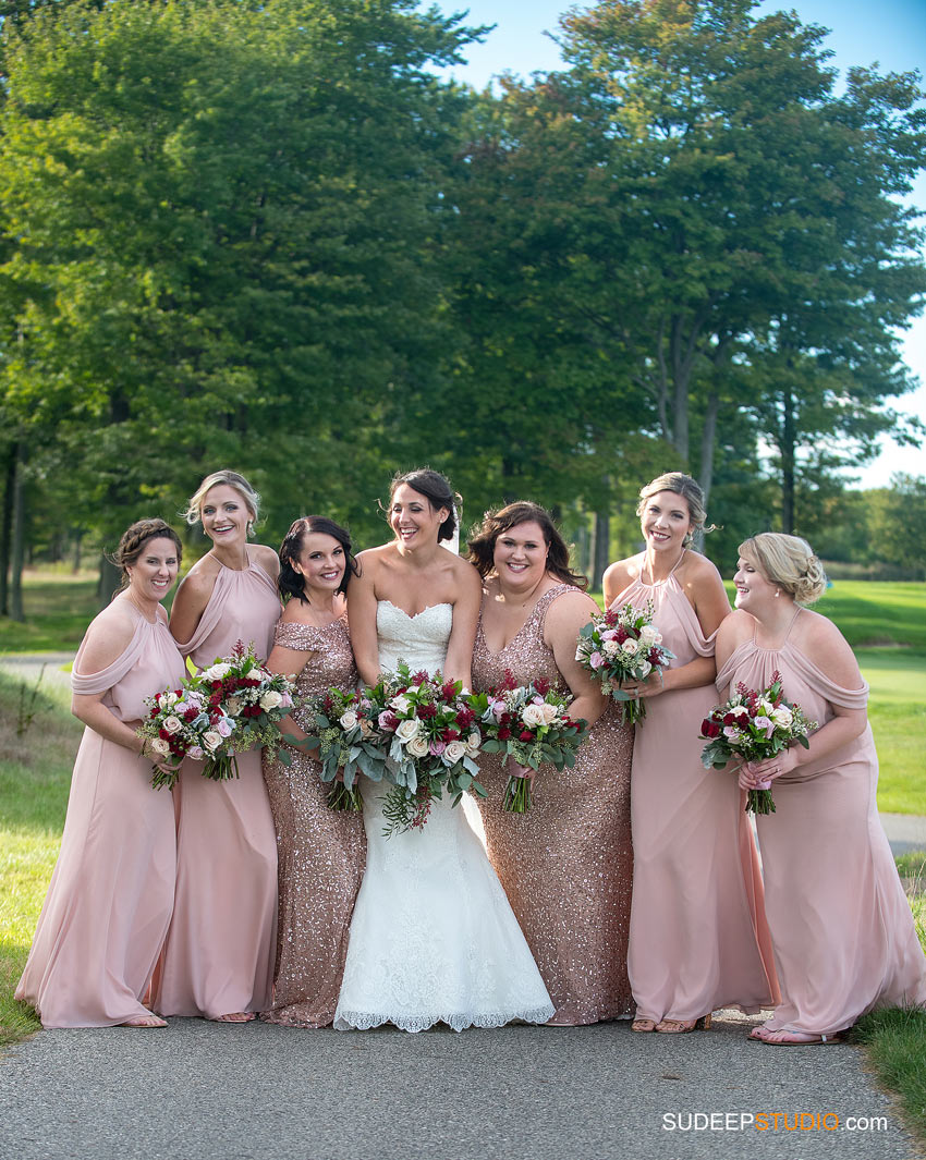 Bridal Party Pink Cream Wedding dress SudeepStudio.com Ann Arbor Wedding Photographer