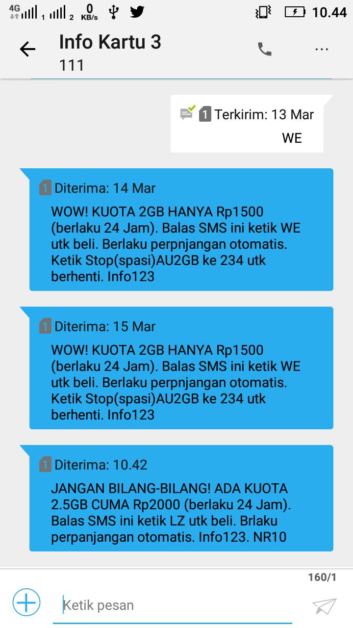 Paketan Internet Terbaru Tri 25gb Biaya Rp 2000 24 Jam Super Luber Koata Im3 9 Gb Info Gapunyakode