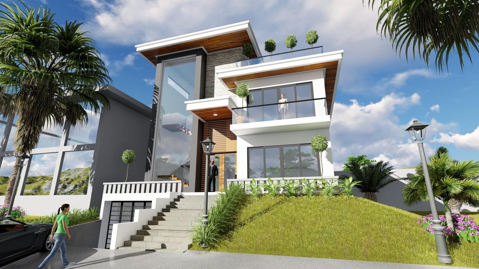 Sketchup exterior villa design drawing from elevation 3 for Exterior villa design photo gallery