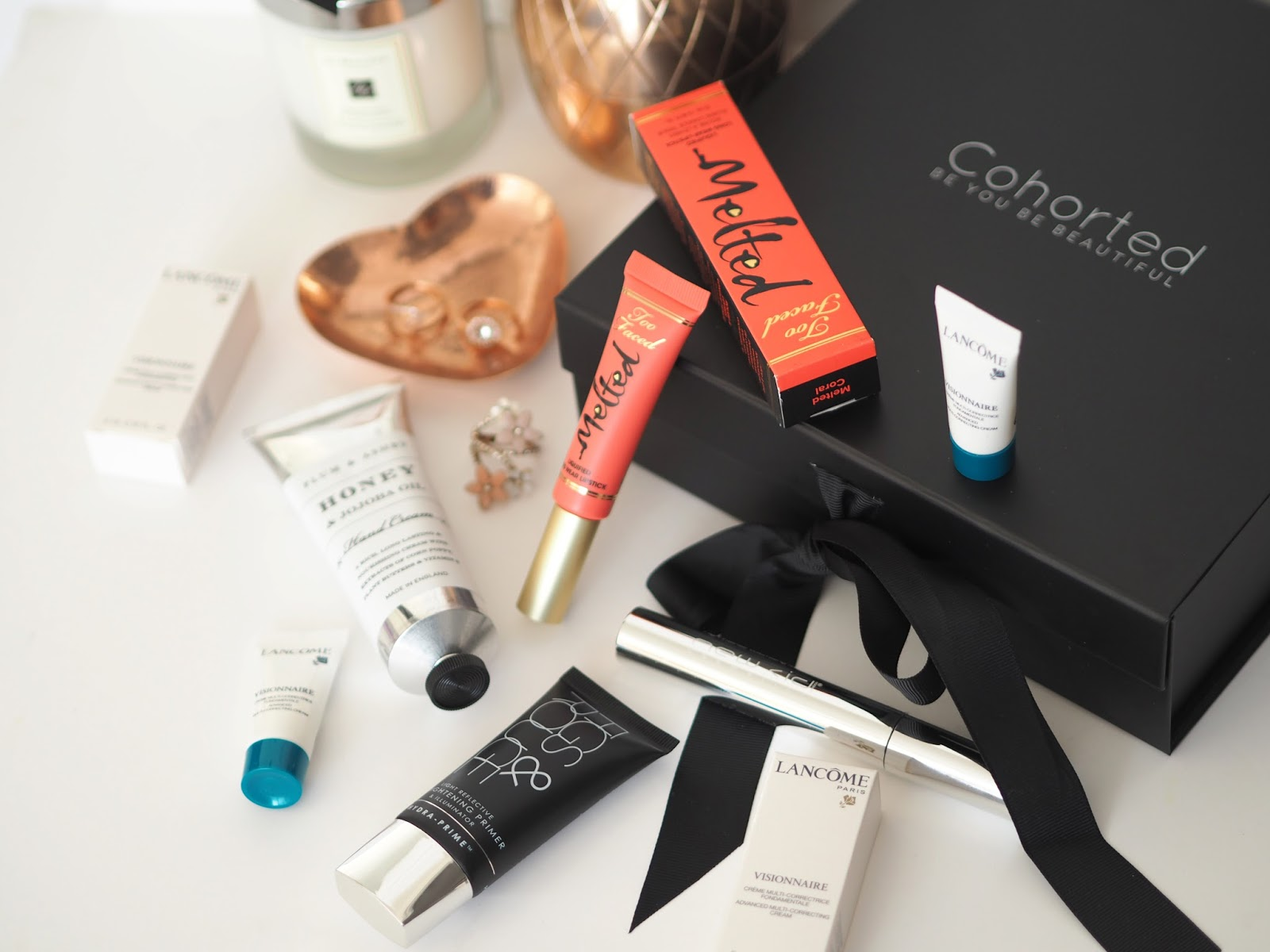 Cohorted Beauty Box: November Edition, Katie Kirk Loves, UK Blogger, Beauty Blogger, Beauty Box, High End Beauty, Luxury Beauty, Beauty Influencer, Make Up Blogger, Skincare Blogger, Cohorted UK, Cohorted Beauty Box Review, Too Faced, Lancome, Figs and Rouge, New CID, Plum and Ashby