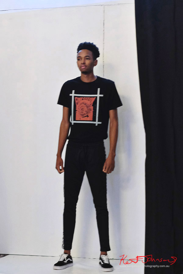 Men's graphic tee, Streetwear Label  Finesse UK at Bracé NYFW. Photographed by Kent Johnson.