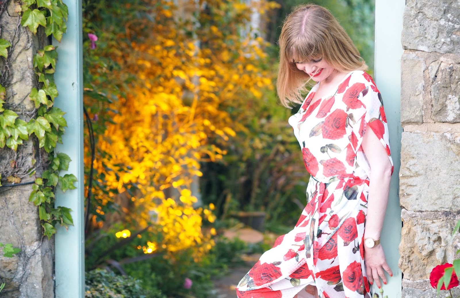 Alice's Pig White and red floral rose draped midi dress with side slit