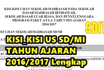 KISI - KISI Ujian Sekolah US/UM/USBN SD/MI Tahun Ajaran 2016/2017