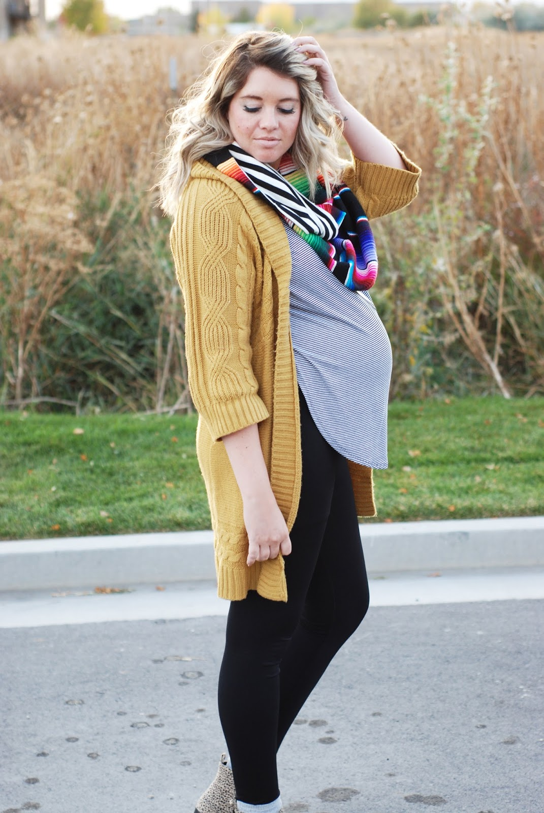 Mustard Cardigan, Preggo Leggings, Fall Outfit, Pregnant Outfit
