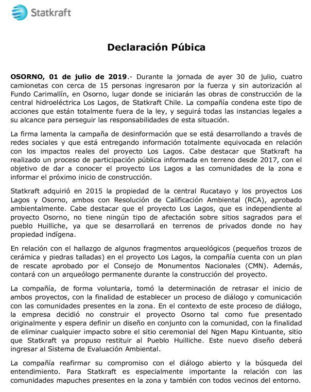 Declaración Públcia Statkraft