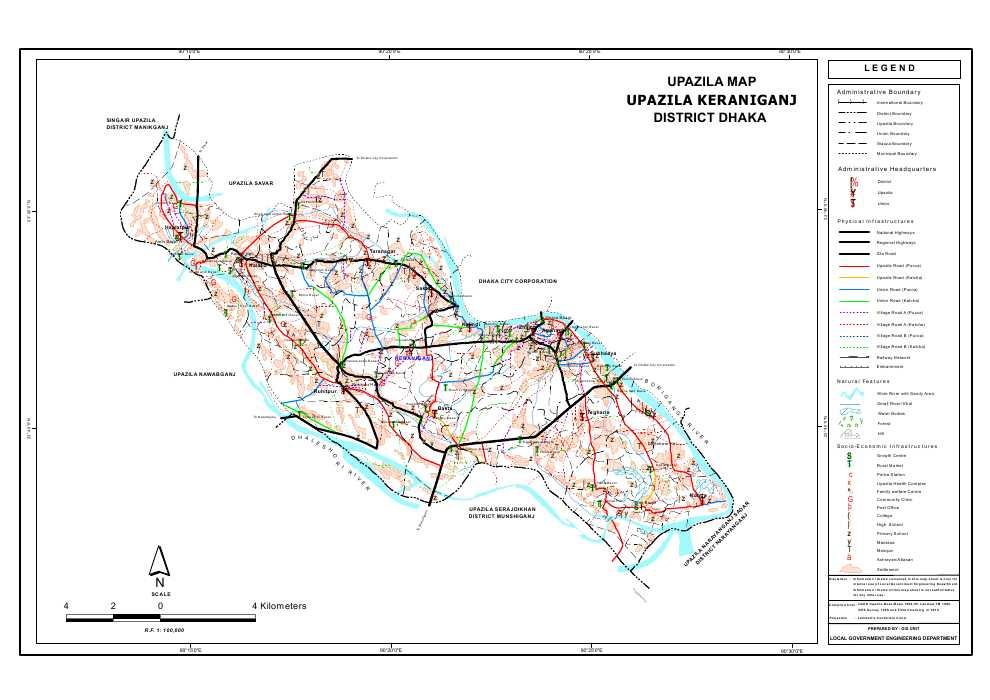 Keraniganj Upazila Map Dhaka District Bangladesh