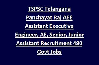 TSPSC Telangana Panchayat Raj AEE Assistant Executive Engineer, AE, Senior/Junior Assistant Recruitment 2017 480 Govt Jobs Online