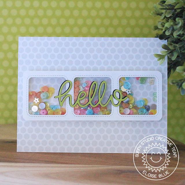 Sunny Studio Stamps: Hello Word Die Window Trio Dies Shaker Card by Eloise Blue