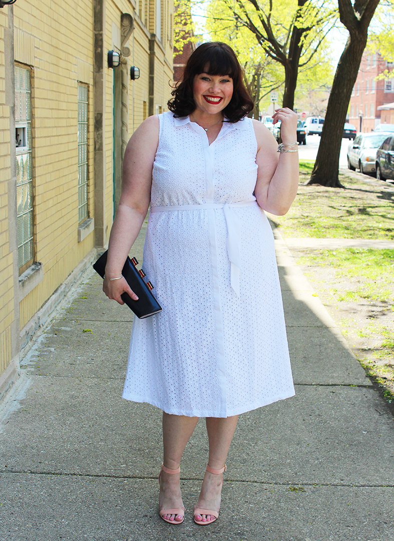 Summer Style: Plus Size White Eyelet Midi Dress from Jessica London