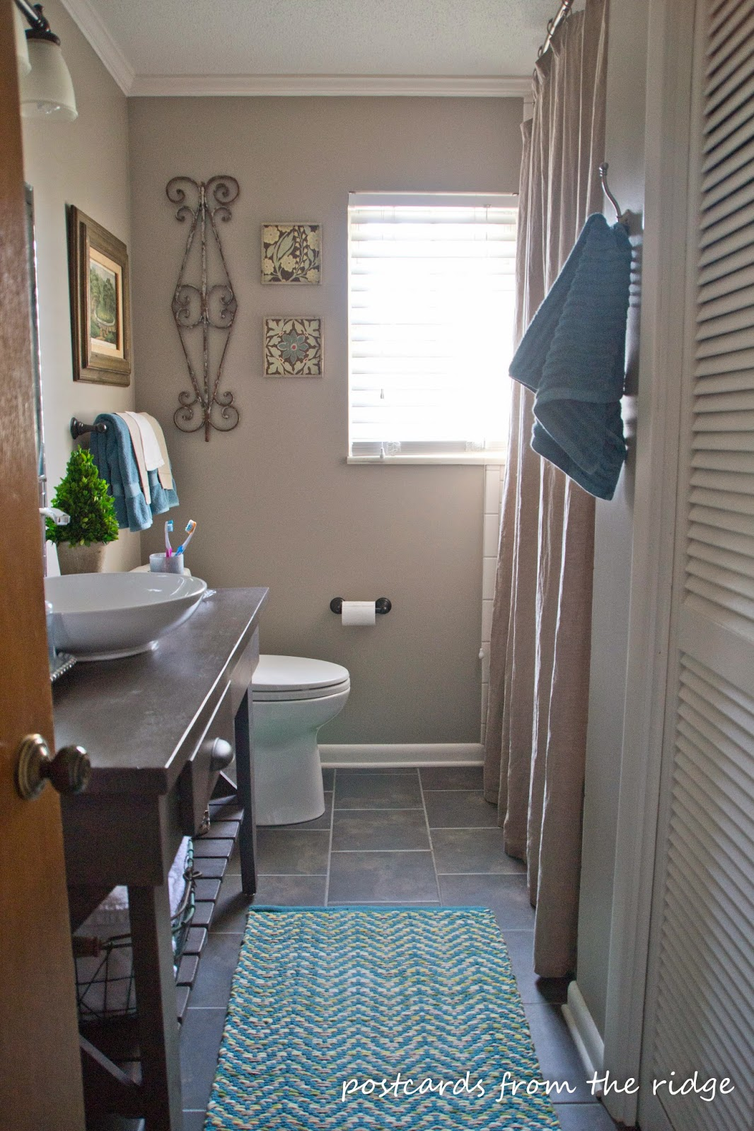 Nice remodel of a guest bath. ~ Postcards from the Ridge