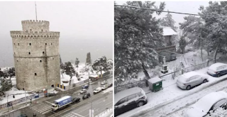 Πυκνό Χιόνι στον Λευκό Πύργο. Περιπέτεια για Μαθητές στην Κακοκαιρία…