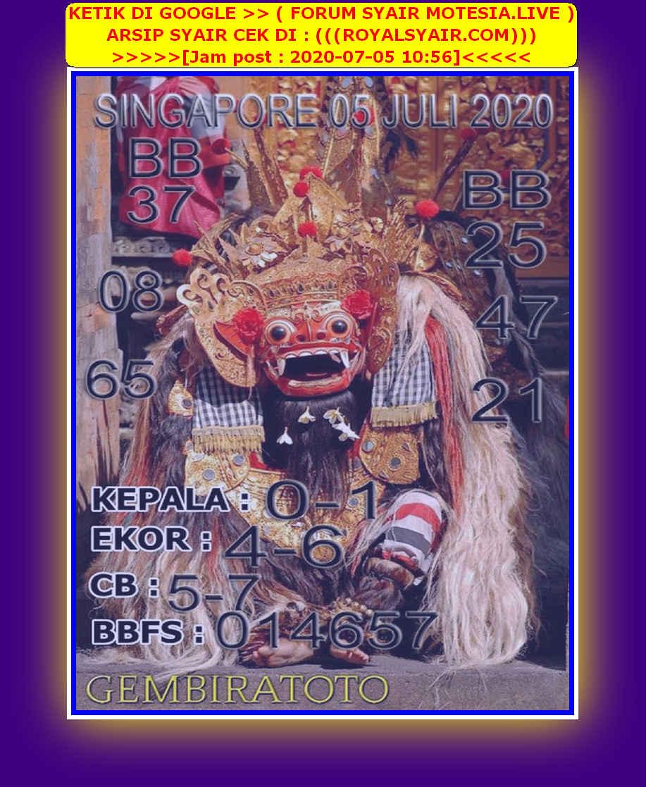Kode syair Singapore Minggu 5 Juli 2020 105
