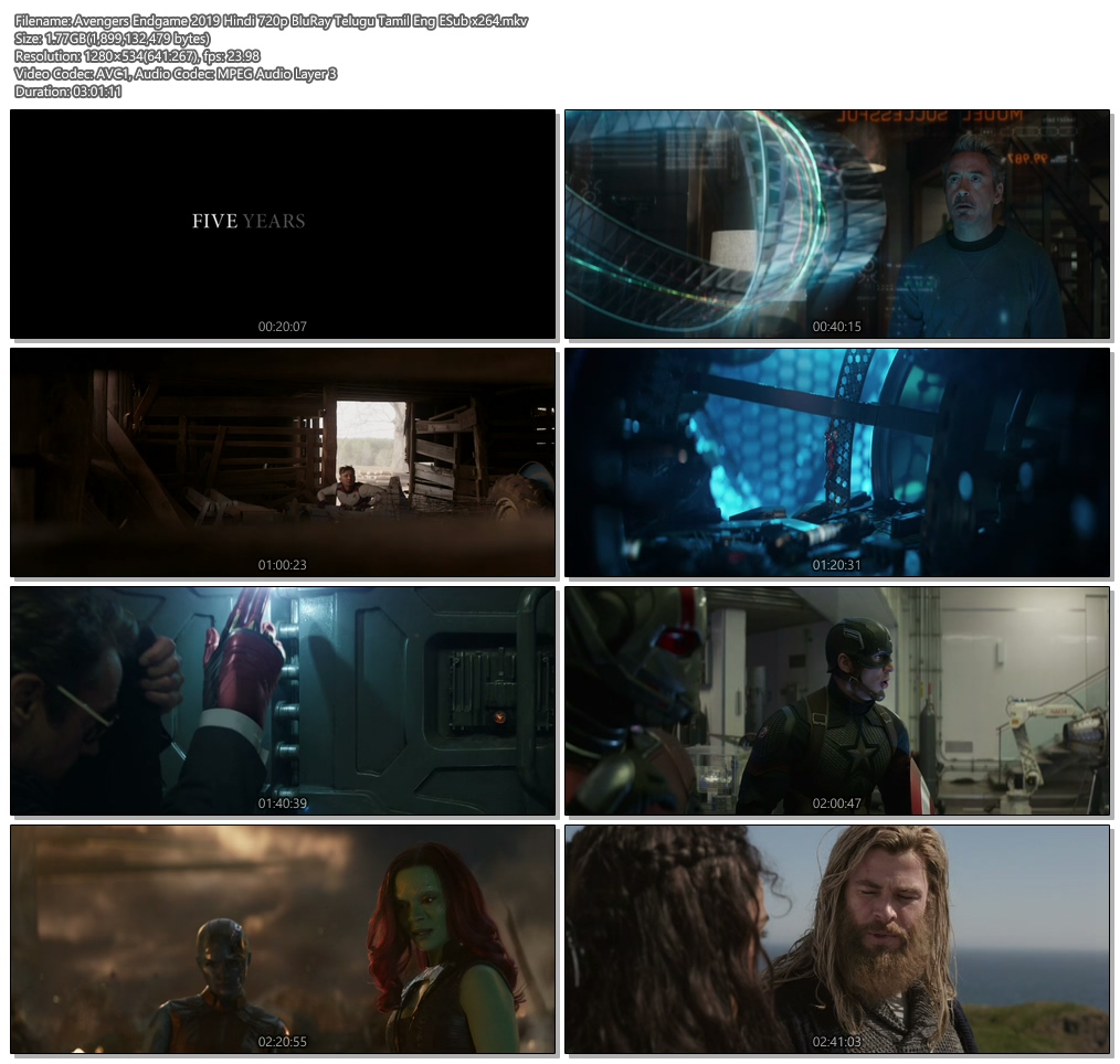 Avengers Endgame 2019 Hindi 720p BluRay Telugu Tamil Eng ESub | 480p 300MB | 100MB HEVC Screenshot