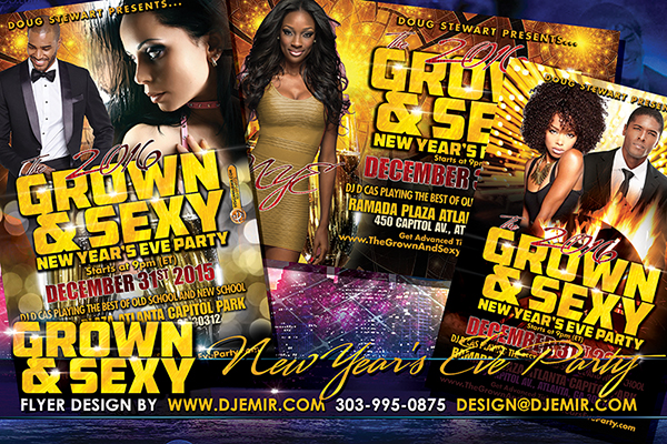 2016 Grown And Sexy New Year's Eve Party Flyer Design