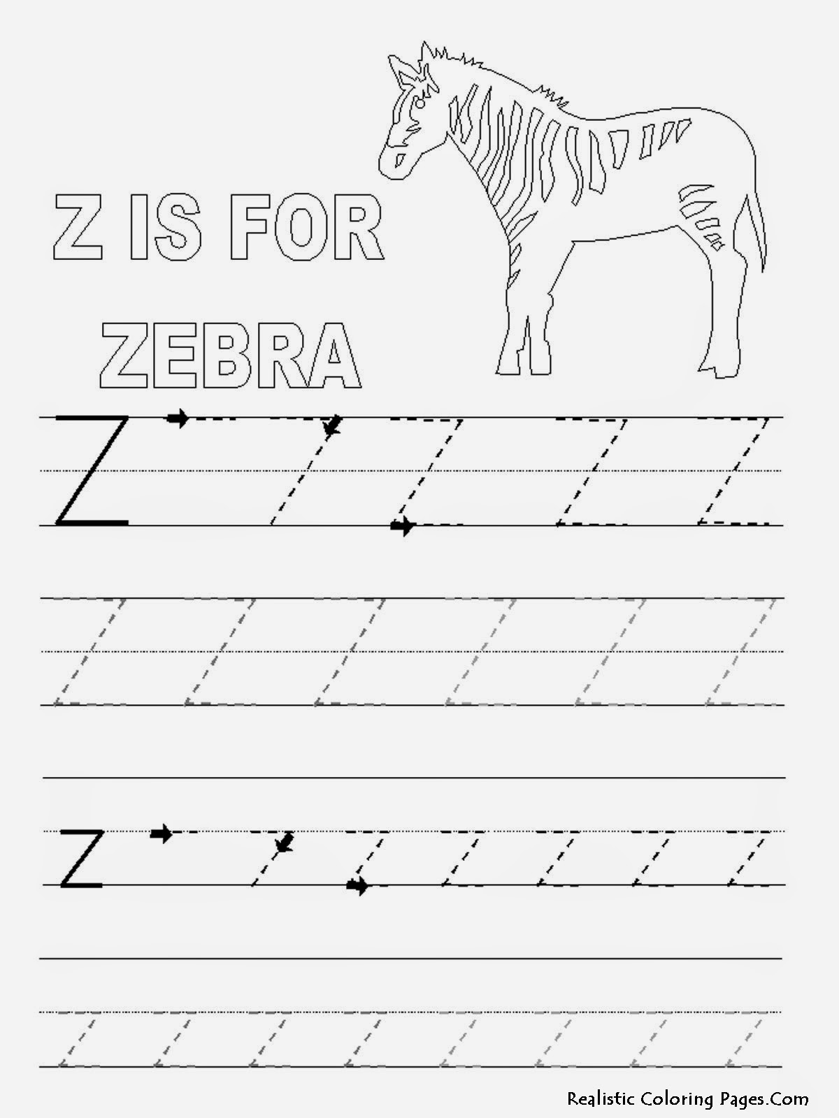 letter tracing pages free coloring pages of zebra letter d 23280 | Alphabet Tracer Pages Z Zebra