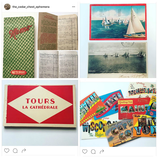A collection of ephemera from the_cedar_chest_ephemera instagram