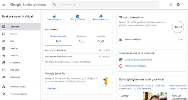 Google Benim İşletmem sayfası