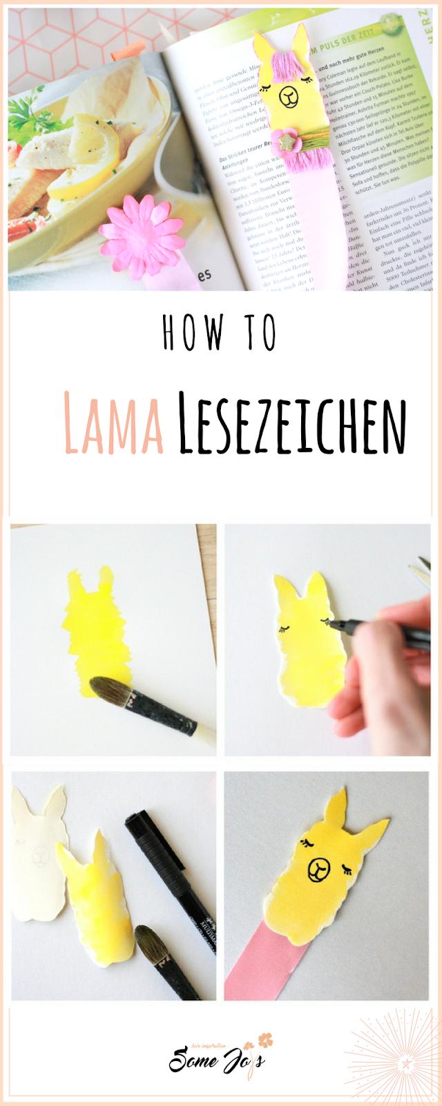 Lesezeichen basteln - Lama-Motiv