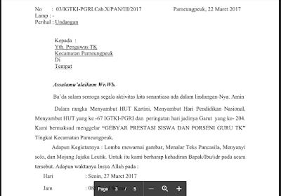 Contoh Surat Undangan Rapat Orang Tua TK/PAUD/RA/KB/TPA